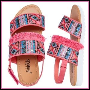 fabkids Shoes - New! Fab kids Fringe track sole sandals! Sz 4 & 5